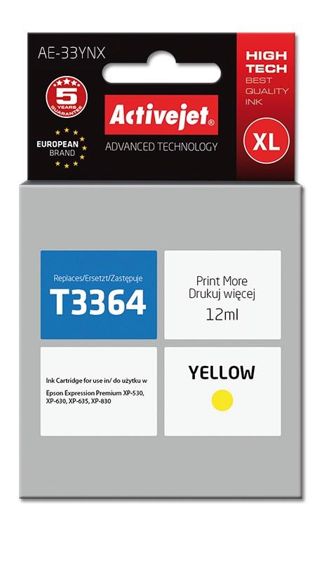Tusz Activejet AE-33YNX do drukarki Epson, Zamiennik Epson 33XL T3364;  Supreme;  12 ml;  żółty.