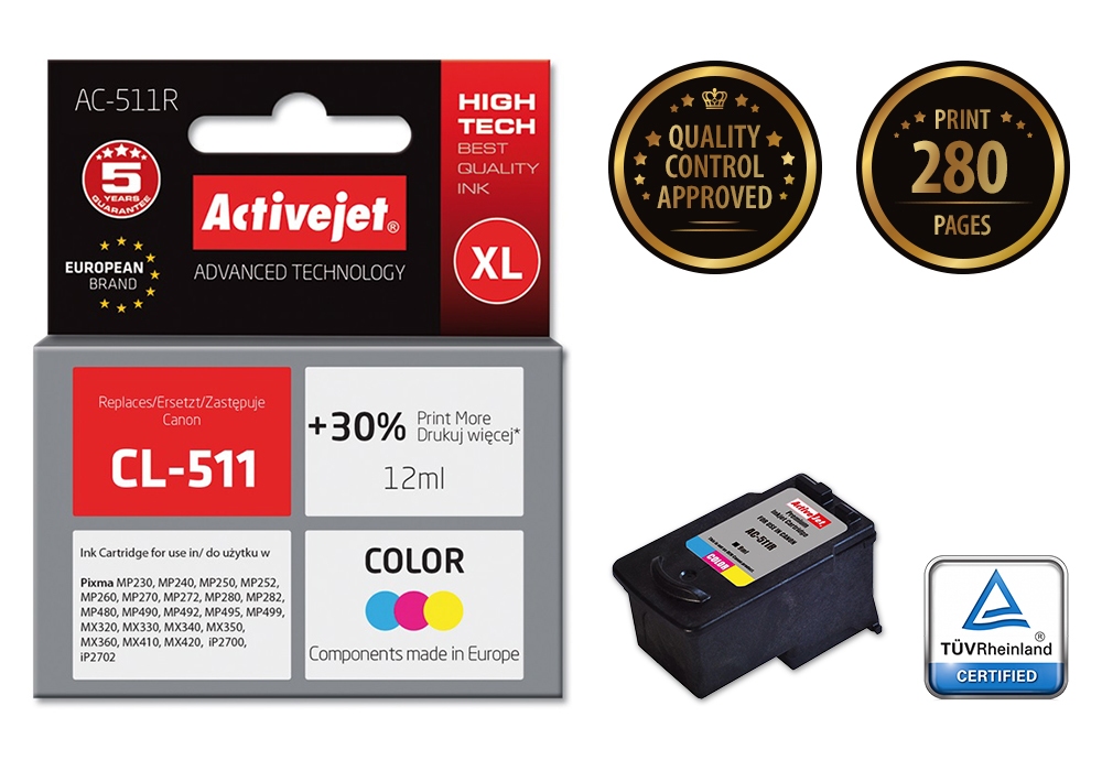 Tusz Activejet AC-511R do drukarki Canon, Zamiennik Canon CL-511;  Premium;  12 ml;  kolor. Drukuje więcej o 30%.