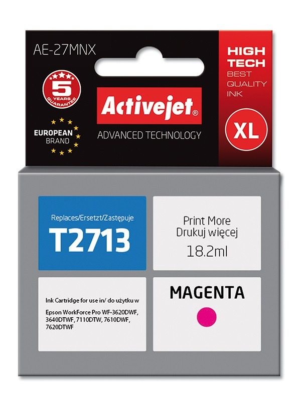 Tusz Activejet AE-27MNX do drukarki Epson, Zamiennik Epson 27XL T2713;  Supreme;  18 ml;  purpurowy.