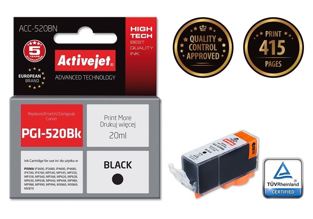 Activejet ACC-520Bk tusz czarny do drukarki Canon (zam. PGI-520Bk) (w/ CHIP)