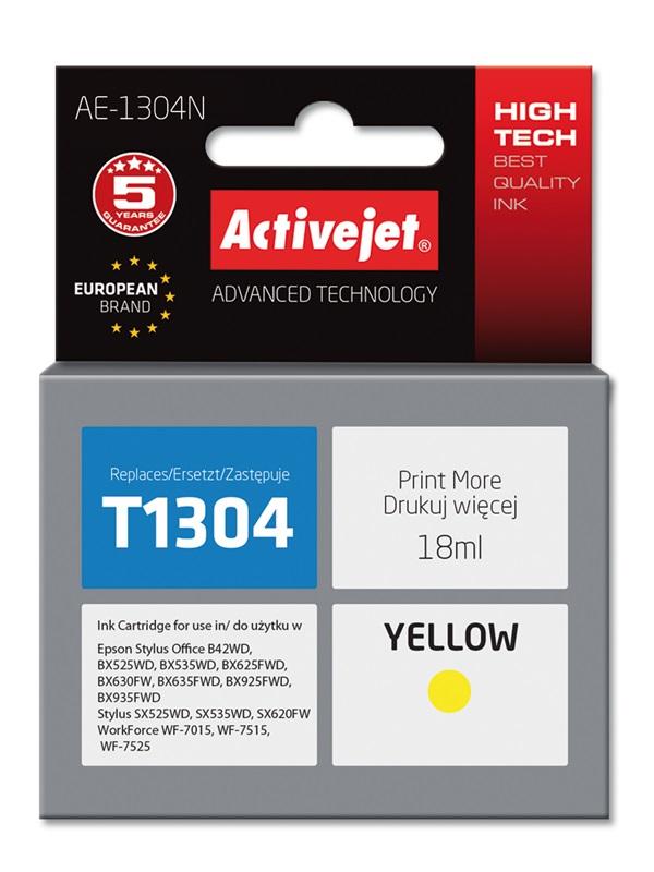 Tusz Activejet AE-1304N do drukarki Epson, Zamiennik Epson T1304;  Supreme;  18 ml;  żółty.