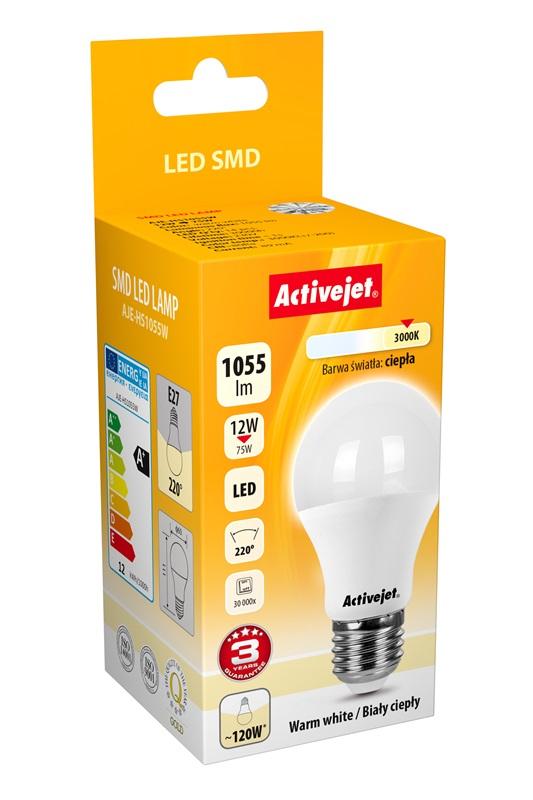 Activejet żarówka LED Glob 12W 1055lm E27 b. ciepła