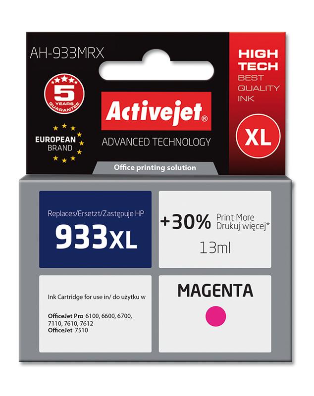 Tusz Activejet AH-933MRX do drukarki HP, Zamiennik HP 933XL CN055AE;  Premium;  13 ml;  purpurowy. Drukuje więcej o 30%.
