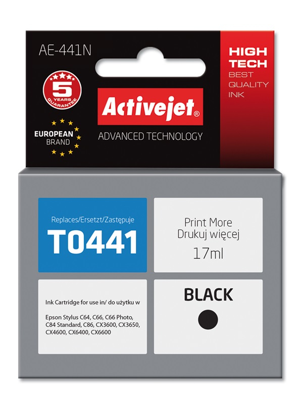 Tusz Activejet AE-441N do drukarki Epson, Zamiennik Epson T0441;  Supreme;  17 ml;  czarny.