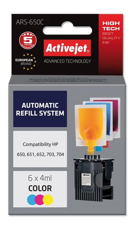 ACJ Refill HP 703/704/650 Col    3x6ml ARS-650 Col