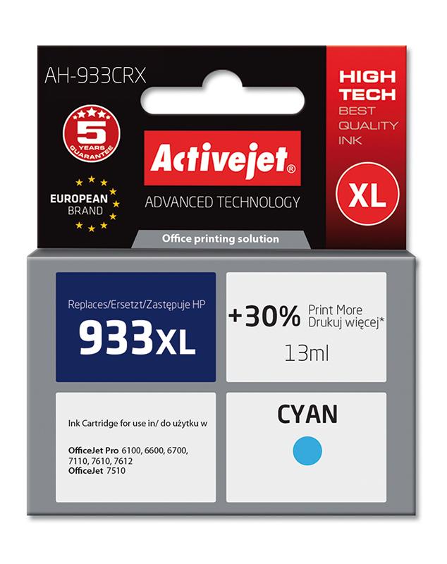 Tusz Activejet AH-933CRX do drukarki HP, Zamiennik HP 933XL CN054AE;  Premium;  13 ml;  błękitny. Drukuje więcej o 30%.