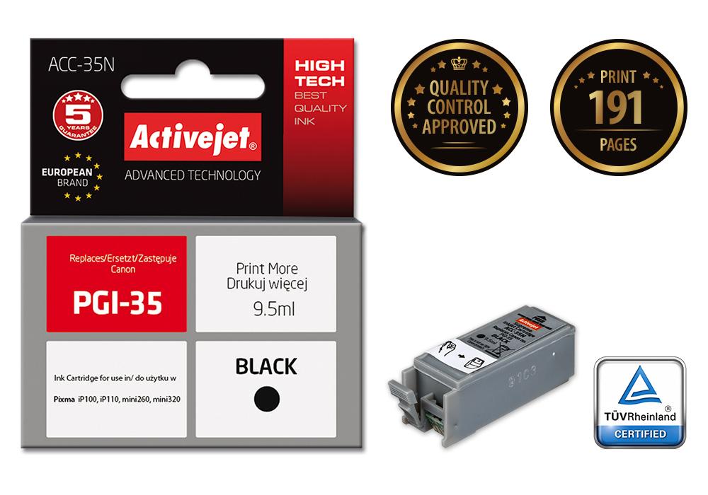 Tusz Activejet ACC-35N do drukarki Canon, Zamiennik Canon PGI-35;  Supreme;  9,5 ml;  czarny.