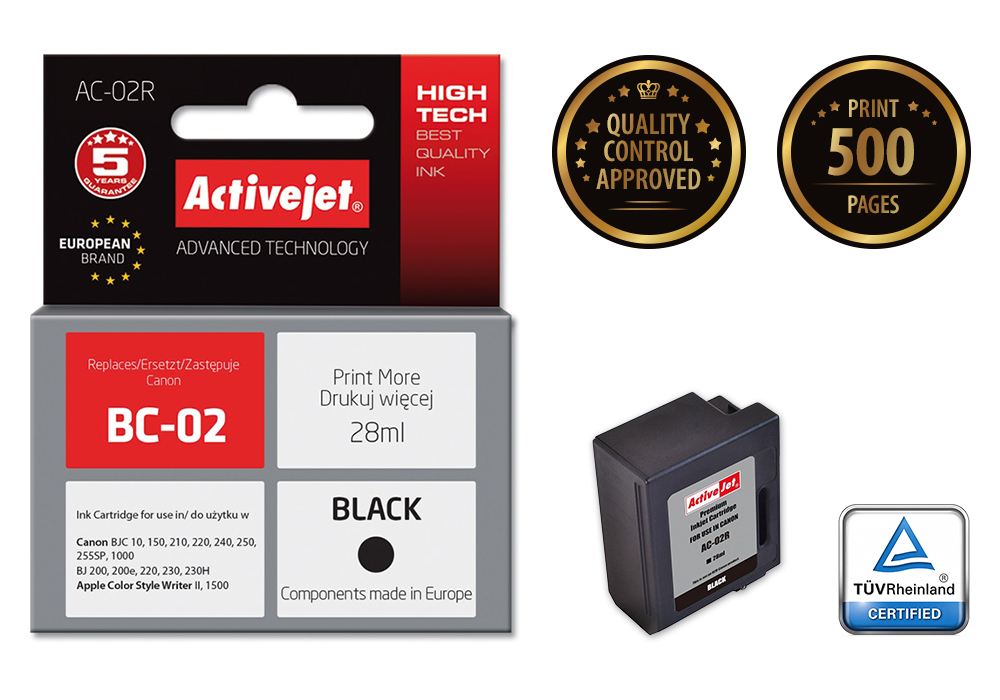 Tusz Activejet AC-02R do drukarki Canon, Zamiennik Canon BC-02;  Premium;  28 ml;  czarny.