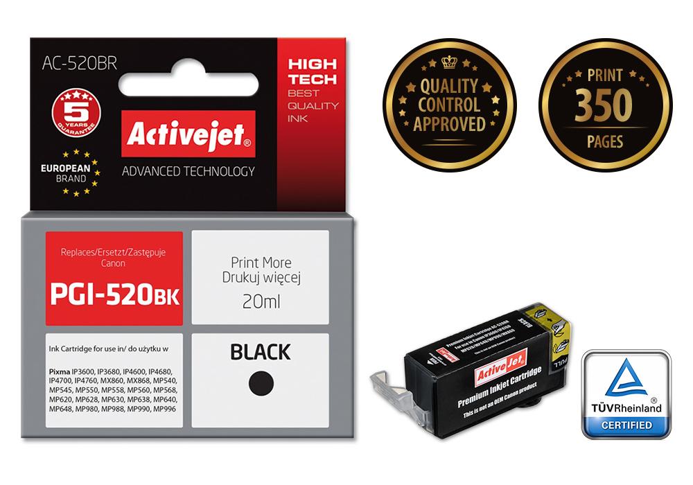 Tusz Activejet AC-520BR do drukarki Canon, Zamiennik Canon PGI-520BK;  Premium;  20 ml;  czarny.