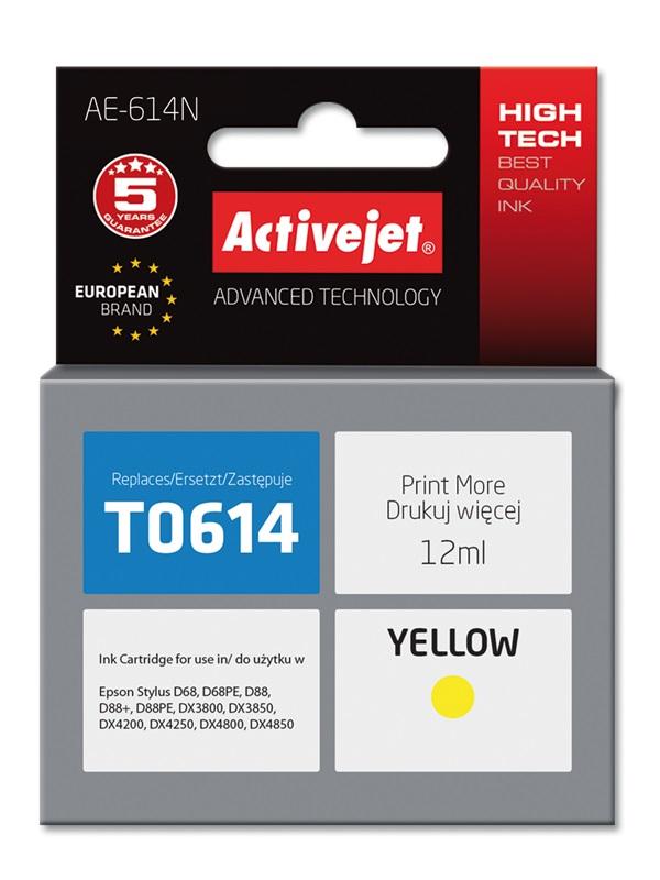 Tusz Activejet AE-614N do drukarki Epson, Zamiennik Epson T0614;  Supreme;  12 ml;  żółty.