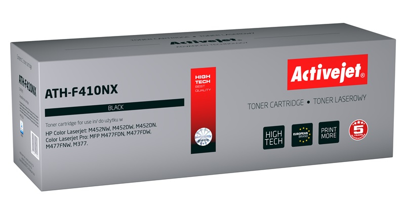 Toner Activejet ATH-F410NX (do drukarki Hewlett Packard, zamiennik 410X CF410X supreme 6500str. czarny Chip)