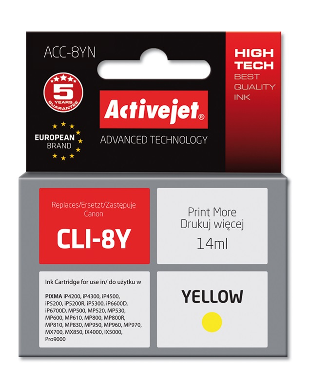 ACJ tusz Canon CLI-8 Yellow WITH CHIP ACC-8Y