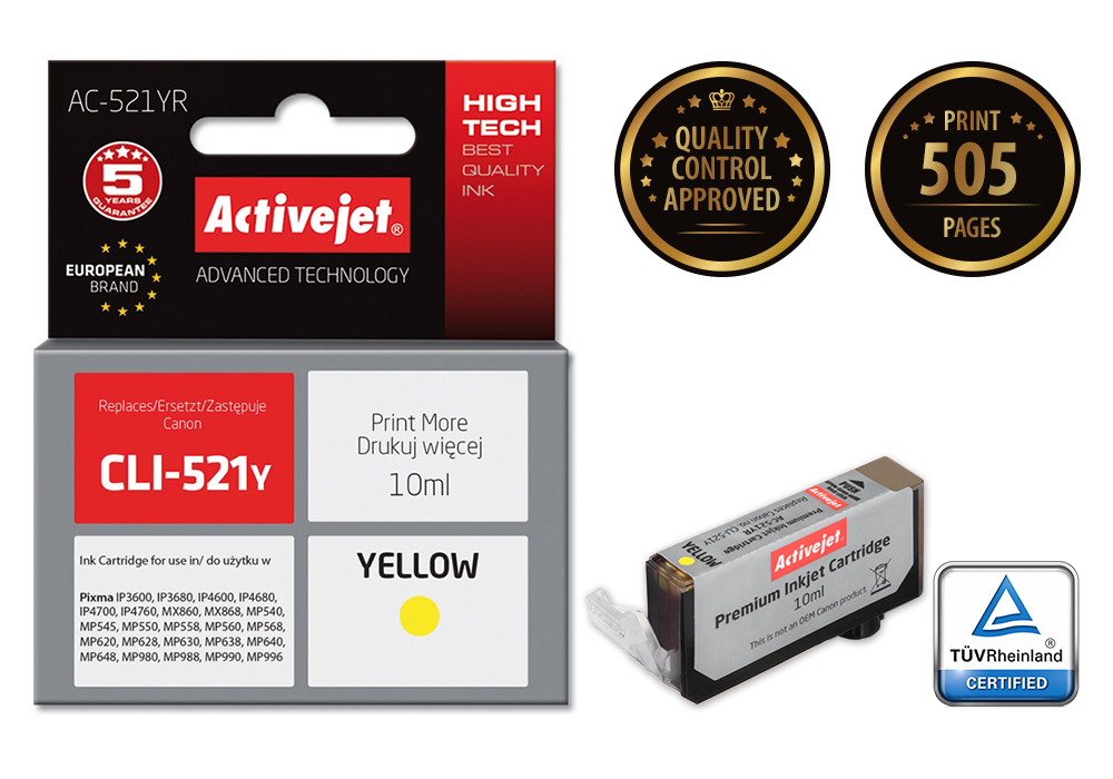 Tusz Activejet AC-521YR do drukarki Canon, Zamiennik Canon CLI-521Y;  Premium;  10 ml;  żółty.