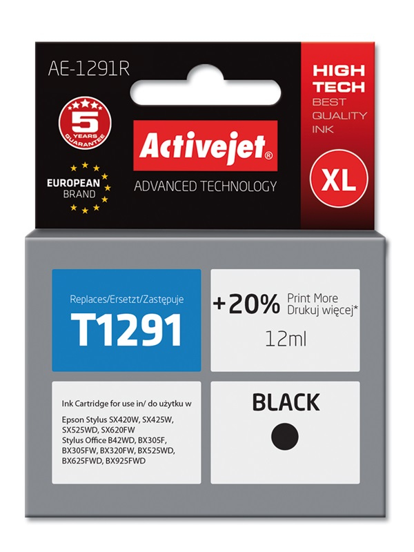 ActiveJet AE-1291R tusz czarny do drukarki Epson (zamiennik T1291)