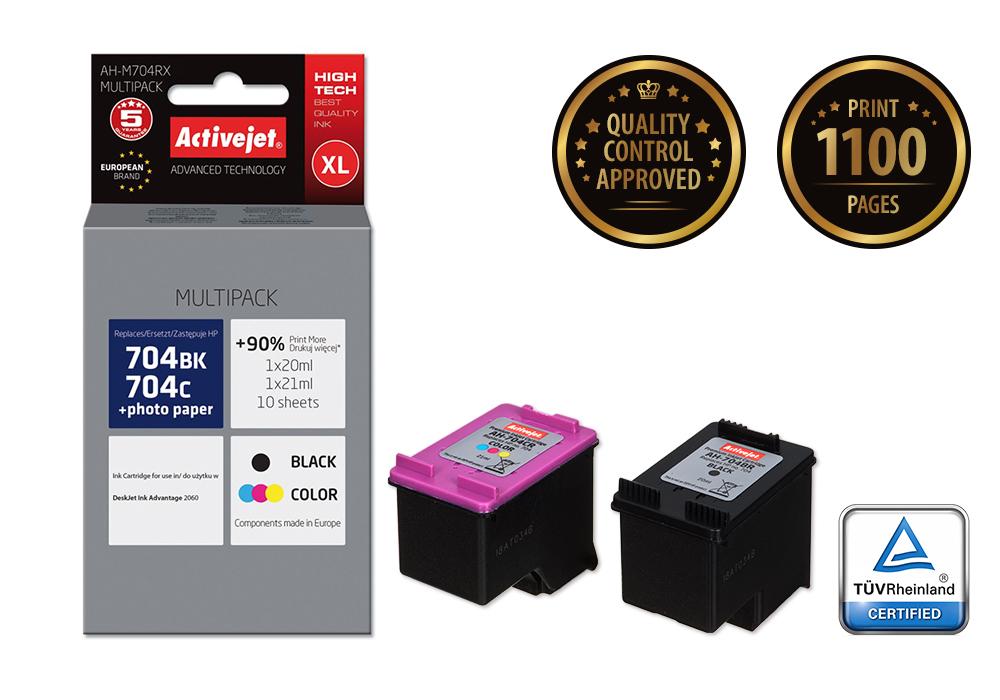 Tusz Activejet AH-M704RX do drukarki HP, Zamiennik HP 704 CN692AE, CN693AE;  Premium;  1 x 20 ml, 1 x 21 ml;  czarny, kolor. Drukuje więcej o 90%.