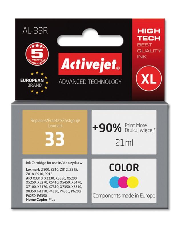 Tusz Activejet AL-33R do drukarki Lexmark, Zamiennik Lexmark 33 18C0033E;  Premium;  21 ml;  kolor. Drukuje więcej o 90%.