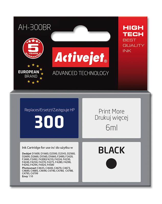 ActiveJet AH-300BR tusz czarny do drukarki HP (zamiennik HP 300 CC640EE)