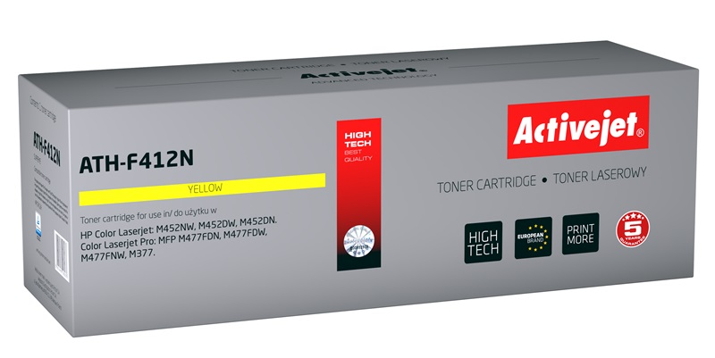 Toner Activejet ATH-F412N (do drukarki Hewlett Packard, zamiennik 410A CF412A supreme 2300str. yellow Chip)