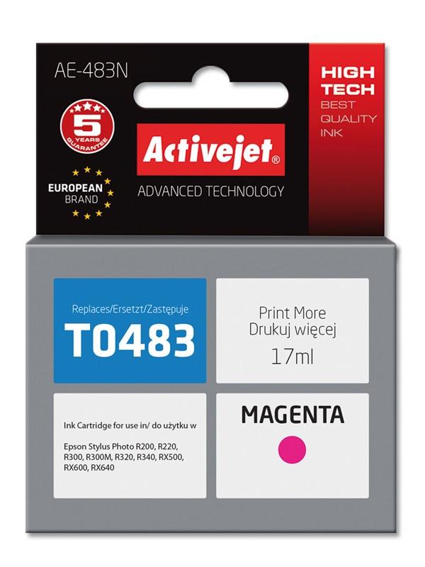 Tusz Activejet AE-483N do drukarki Epson, Zamiennik Epson T0483;  Supreme;  17 ml;  purpurowy.