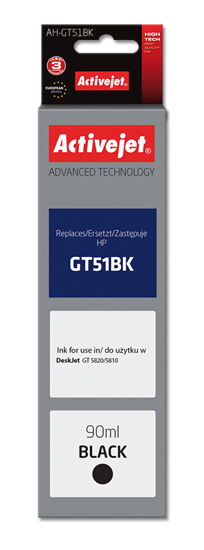 Tusz Activejet AH-GT51Bk do drukarki HP, Zamiennik HP GT51BK M0H57AE;  Supreme;  90 ml;  czarny.
