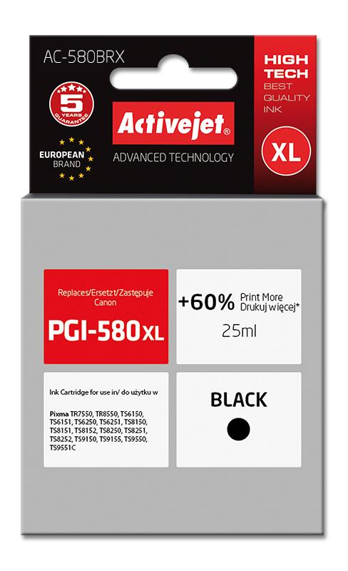 Tusz Activejet AC-580BRX do drukarki Canon, Zamiennik Canon PGI-580Bk XL;  Premium;  25 ml;  czarny. Drukuje więcej o 60%.