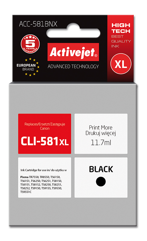 Activejet tusz do Canon CLI-581Bk XL new ACC-581BNX..