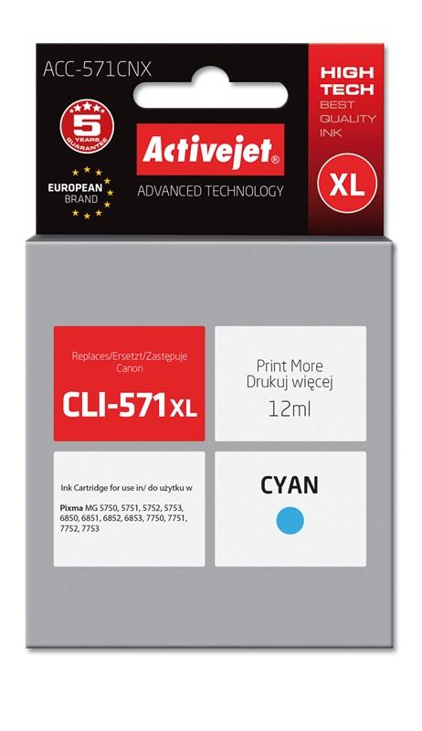Tusz Activejet ACC-571CNX do drukarki Canon, Zamiennik Canon CLI-571C XL;  Supreme;  12 ml;  błękitny.