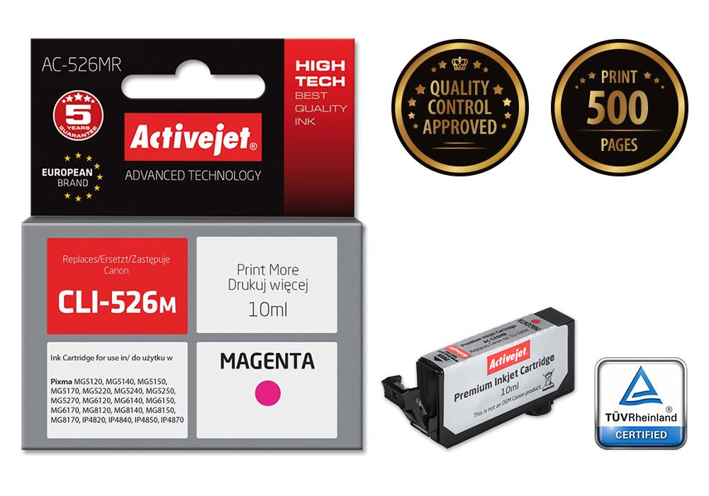Tusz Activejet AC-526MR do drukarki Canon, Zamiennik Canon CLI-526M;  Premium;  10 ml;  purpurowy.
