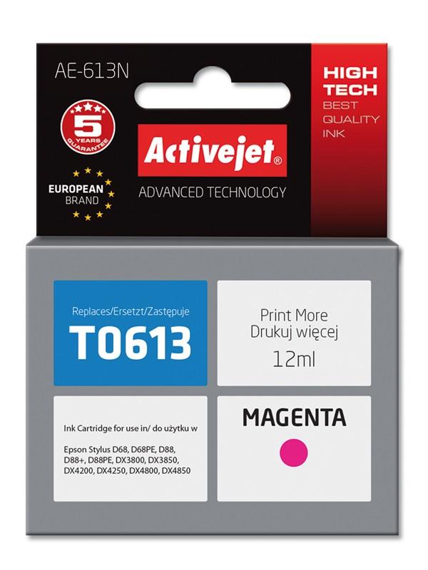 Tusz Activejet AE-613N do drukarki Epson, Zamiennik Epson T0613;  Supreme;  12 ml;  purpurowy.