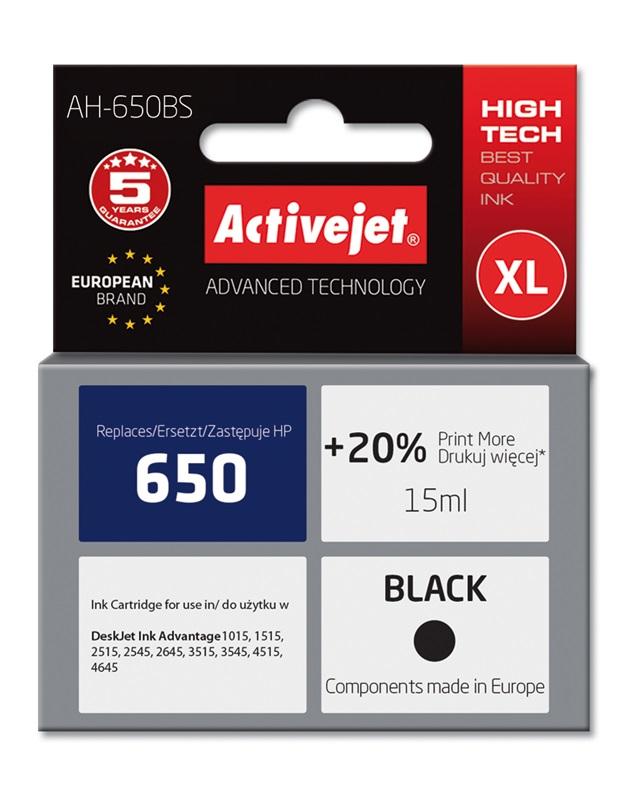 ActiveJet AH-650BS tusz czarny do drukarki HP (zamiennik HP 650 CZ101AE) Premium Standard