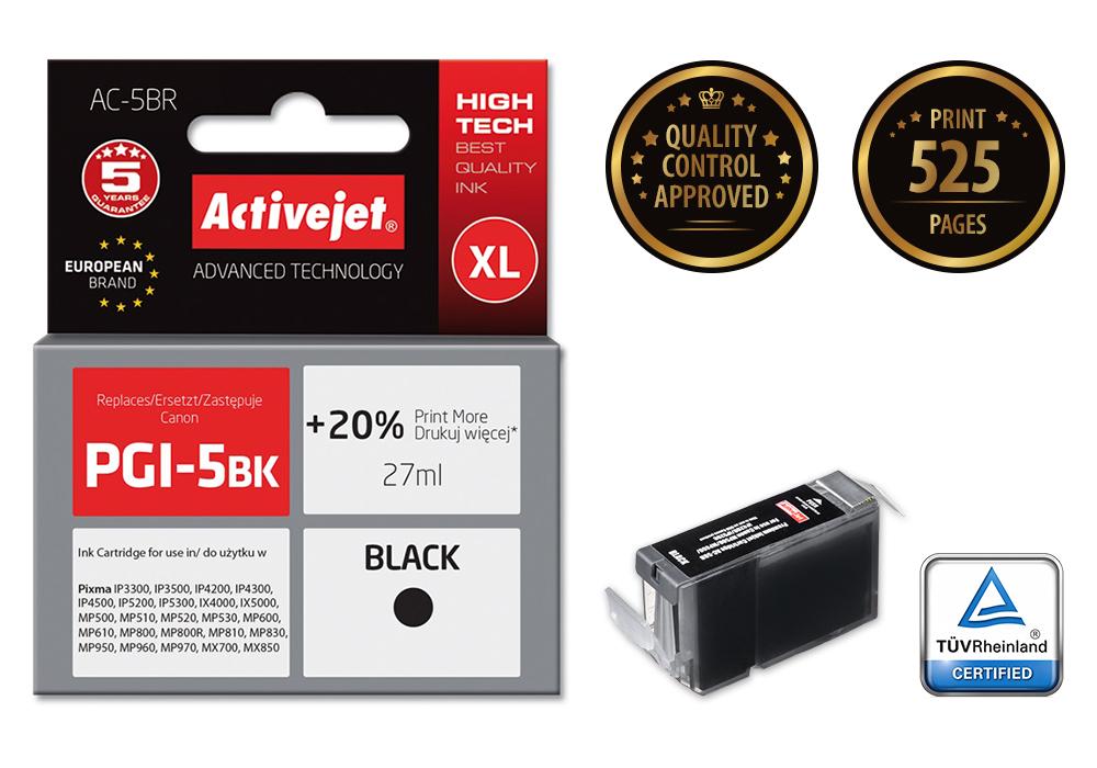 ActiveJet ACR-5Bk tusz czarny do drukarki Canon (zamiennik PGI-5Bk)