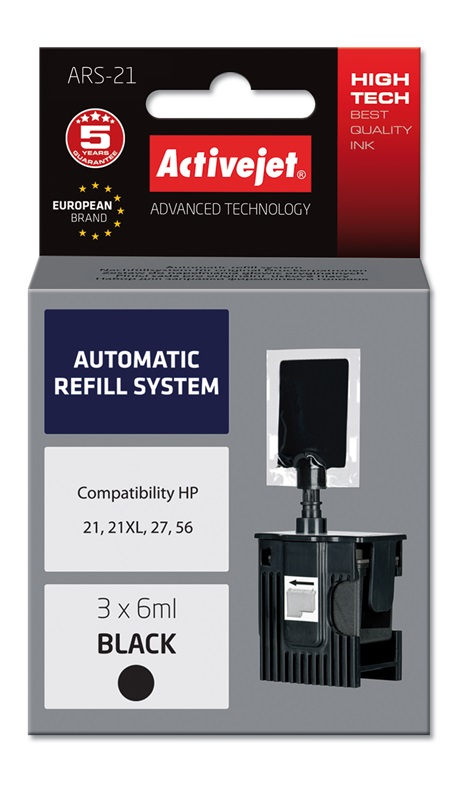 ActiveJet Automatic Refill System HP 21/27/56 Bk 3x6ml ARS-21
