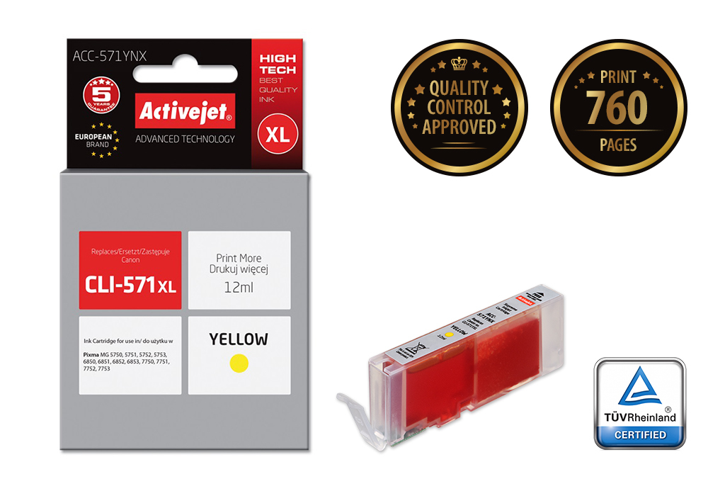 Tusz Activejet ACC-571YNX do drukarki Canon, Zamiennik Canon CLI-571Y XL;  Supreme;  12 ml;  żółty.