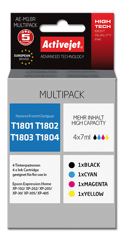 Tusz multipack Activejet AE-M18R (do drukarki Epson, zamiennik T1801, T1802, T1803, T1804 premium 4x7ml cyan,czarny,yellow,magenta)
