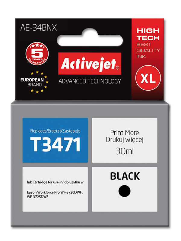 Tusz Activejet AE-34BNX do drukarki Epson, Zamiennik Epson 34XL T3471;  Supreme;  30 ml;  czarny.