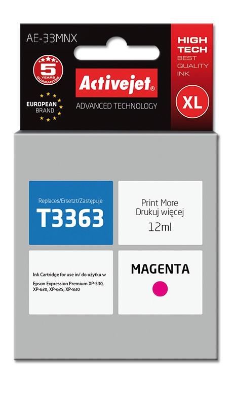 Tusz Activejet AE-33MNX do drukarki Epson, Zamiennik Epson 33XL T3363;  Supreme;  12 ml;  purpurowy.