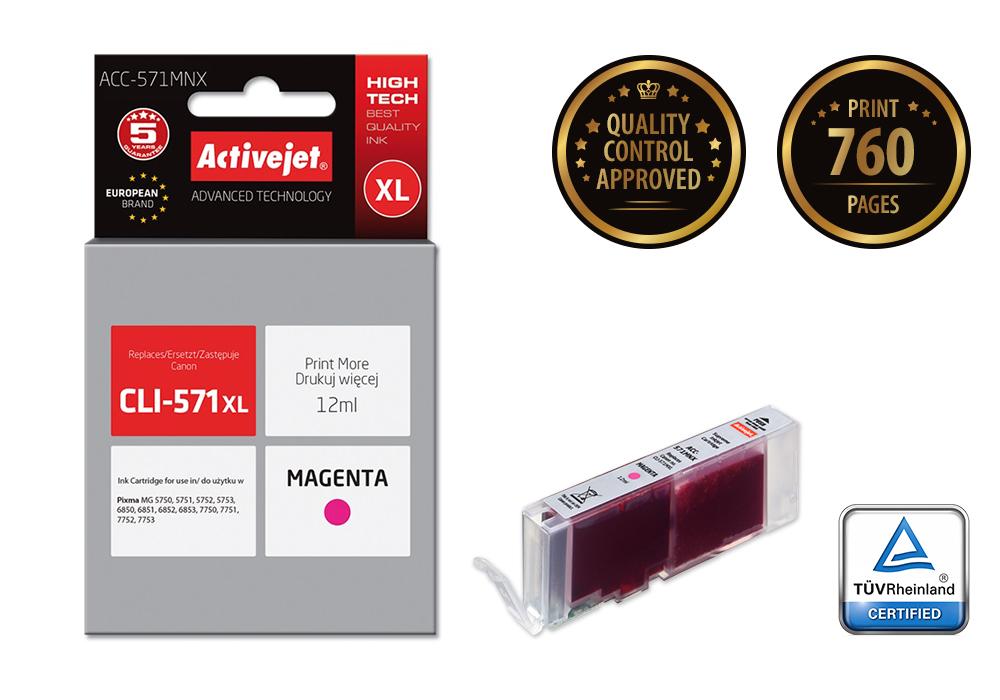Tusz Activejet ACC-571MNX do drukarki Canon, Zamiennik Canon CLI-571M XL;  Supreme;  12 ml;  purpurowy.