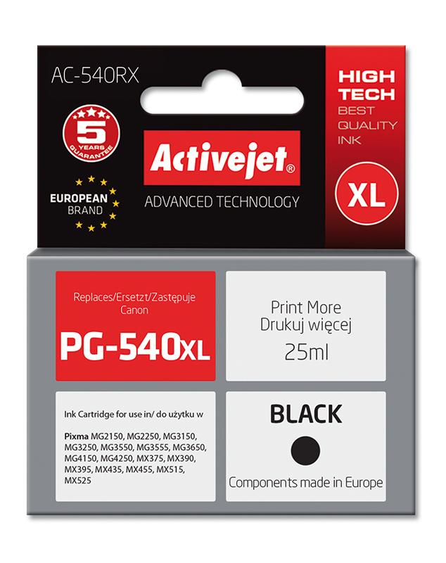 Tusz Activejet AC-540RX do drukarki Canon, Zamiennik Canon PG-540XL;  Premium;  25 ml;  czarny.