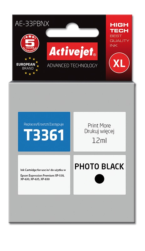 Tusz Activejet AE-33PBNX do drukarki Epson, Zamiennik Epson 33XL T3361;  Supreme;  12 ml;  czarny.