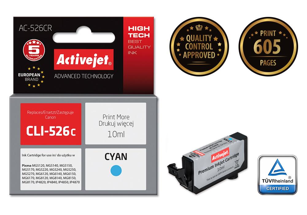 Tusz Activejet AC-526CR do drukarki Canon, Zamiennik Canon CLI-526C;  Premium;  10 ml;  błękitny.