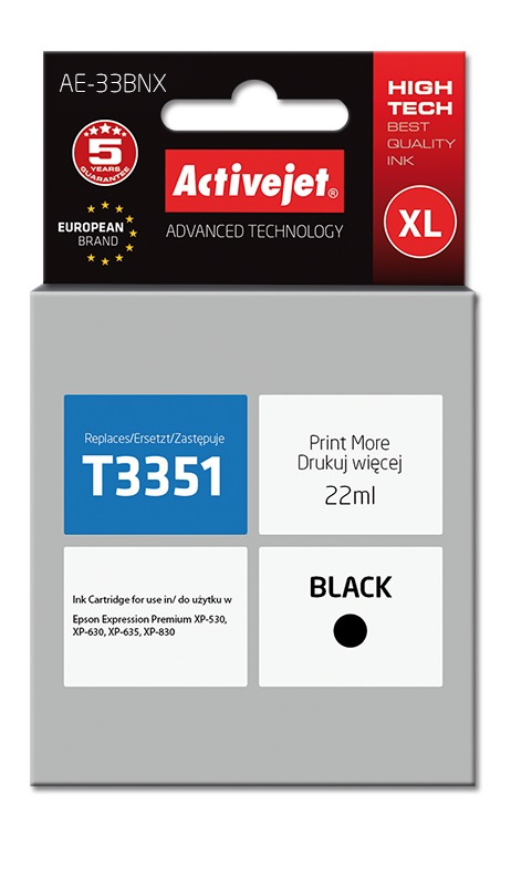 Tusz Activejet AE-33BNX do drukarki Epson, Zamiennik Epson 33XL T3351;  Supreme;  22 ml;  czarny.